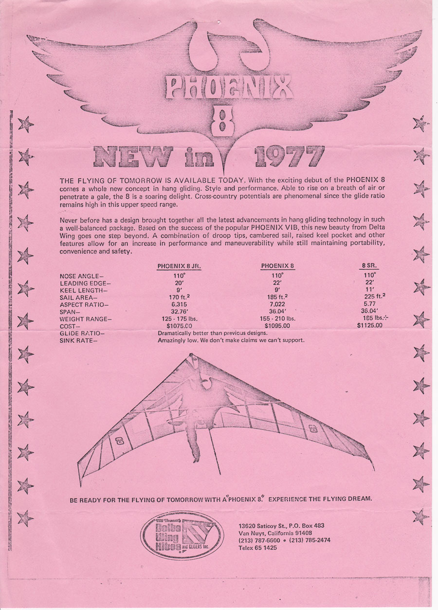 British Hang Gliding History  The Phoenix 8 Imported from
