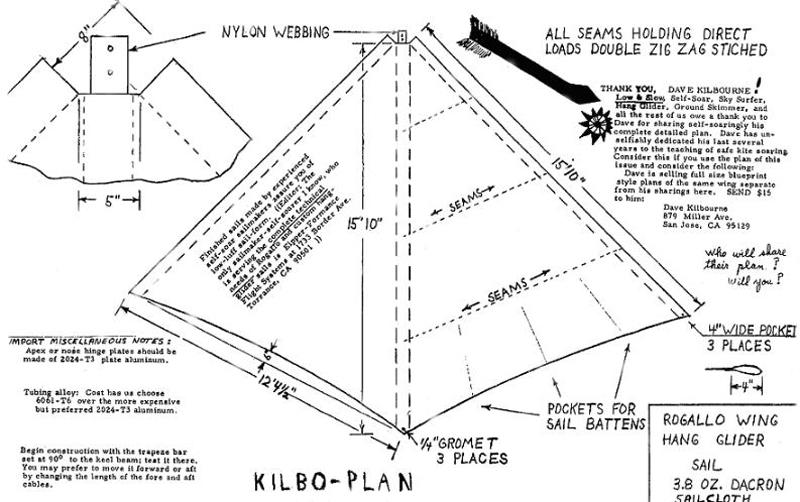 British Hang Gliding History  The Kilbo Plans
